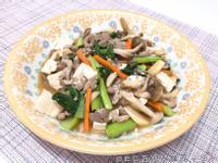 醬燒肉絲鴻喜菇燉豆腐 【好菇道親子食光】