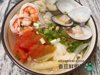 番茄鮮蝦麵。蝦高湯