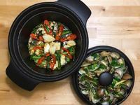 油麻菜炒花枝+醬蒸蛤蠣