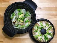 蒜風味水炒蔬菜+米粉蒸魚片