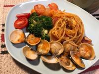 快煮鍋の海鮮義大利麵