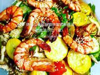 普羅旺斯香料烤櫛瓜蕃茄鮮蝦檸油醋醬溫沙拉