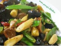 清炒荷蘭豆玉米筍香菇黑木耳 家常四色素菜