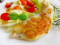 香煎起司雞胸排〞用平底鍋煎出起司脆皮