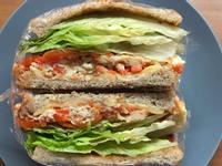 (蛋奶素)紅蘿蔔厚煎蛋總匯三明治