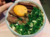 水波爐料理-月見牛排丼