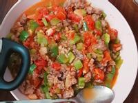 絞肉炒蕃茄青椒