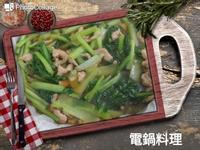 蒜香肉絲小松菜