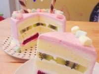 鮮奶油水果夾心生日蛋糕(免烤箱)