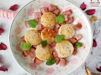 香煎鮮干貝火腿~簡易低醣菜