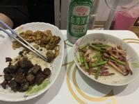 蘆筍小卷+煎骰子牛 下酒菜