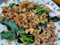 簡易香菇肉燥拌地瓜葉(家常菜)