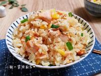 鮭魚味噌炊飯。電鍋料理