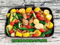 照燒無骨雞腿肉拌野菜(水波爐料理)