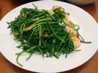快炒水蓮鮮蝦料理