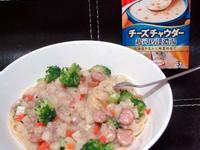 懶人料理~起司巧達濃湯義大利麵