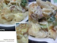 白醬培根鮮蝦焗烤麵
