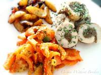 蜂蜜香雞牛肉捲、紅甜椒佐蕃茄青醬沙拉與香煎馬鈴薯時蔬