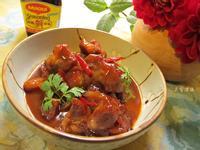 珠蔥醬燒梅花肉。美極鮮味露