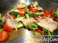 炒豬肉及青花菜