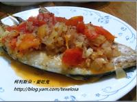 西式。香煎鯖魚佐番茄義式香料醬汁
