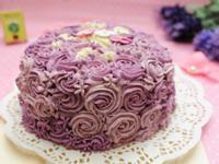 紫色玫瑰草莓奶油蛋糕