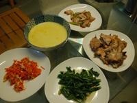 烤魚下巴+蘿蔔炒蛋+南瓜湯+炒鹹豬肉