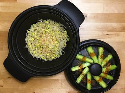 日式胡麻香油黃豆芽+七味黃瓜涼拌菜