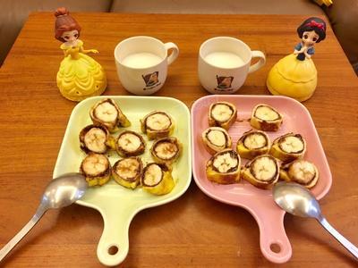 早餐-香蕉巧克力吐司捲