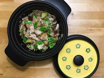 日式地瓜野菇雞炊飯+秋葵蒸蛋