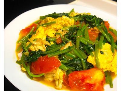 番茄菠菜炒蛋