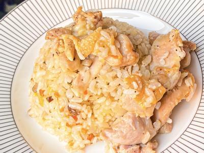 奶油雞肉野菇炊飯(4個步驟完成美味炊飯)