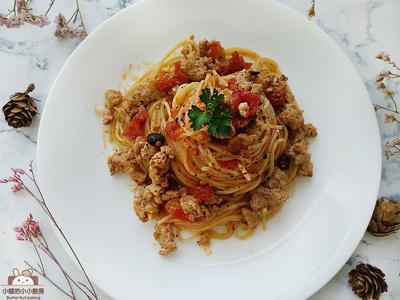 香辣番茄肉醬義大利麵。一鍋到底義大利麵