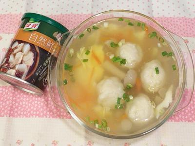 花枝精靈菇蛋花湯(康寶自然鮮嫩雞風味)