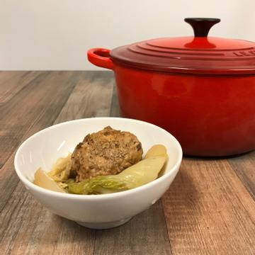 艾瑞絲跟著做了鑄鐵鍋料理-娃娃菜砂鍋獅子頭