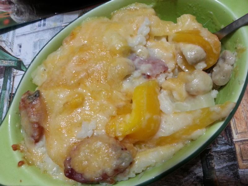 自製簡易白醬作法&香腸奶油蘑菇焗烤飯