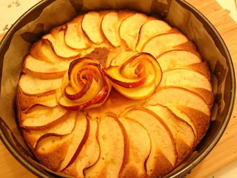 奶油蘋果花磅蛋糕
