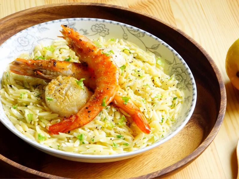 干貝鮮蝦佐檸檬奶油米型麵