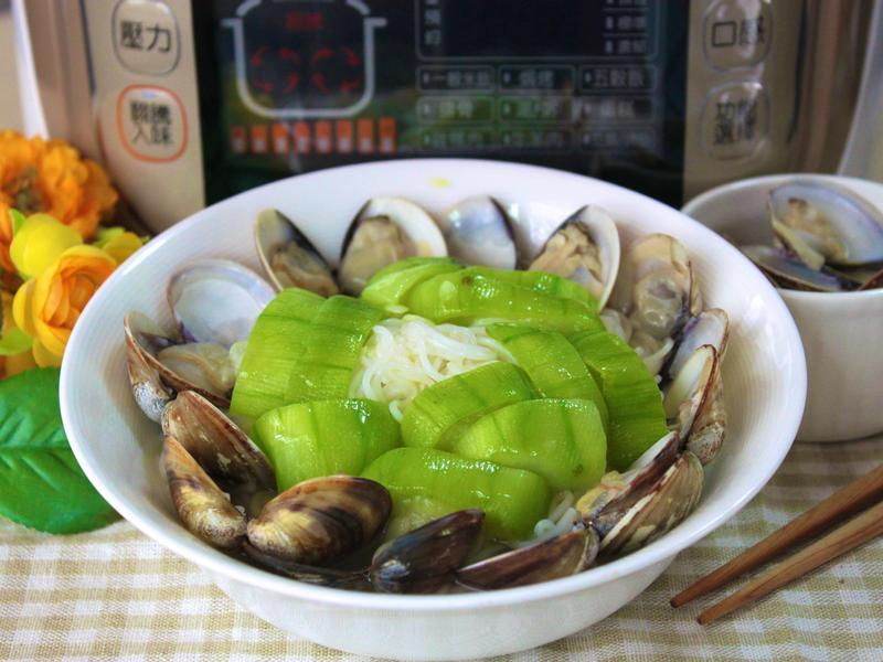 蛤蜊絲瓜湯麵線【九陽翻騰智慧全能鍋】