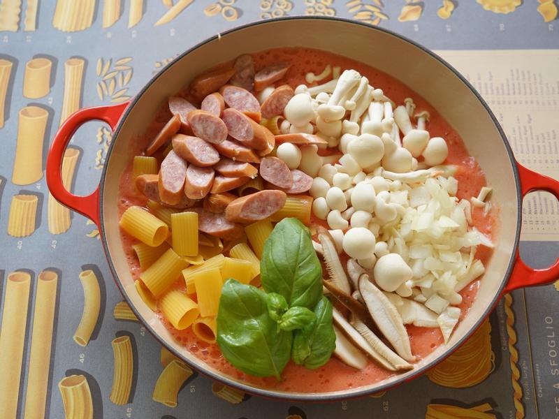 一鍋到底番茄熱狗義大利麵