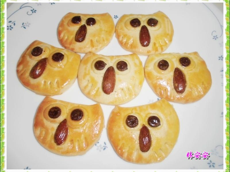 Q版貓頭鷹脆餅-消滅杏仁果、用水杯玩造型