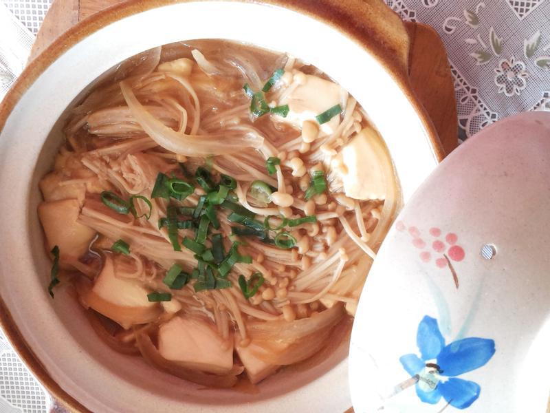 陶燒金針菇豆腐煲(簡單快速料理)
