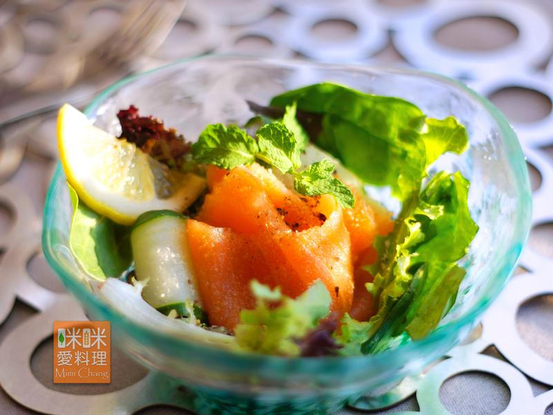 Mimi♥煙燻鮭魚夏威夷豆沙拉
