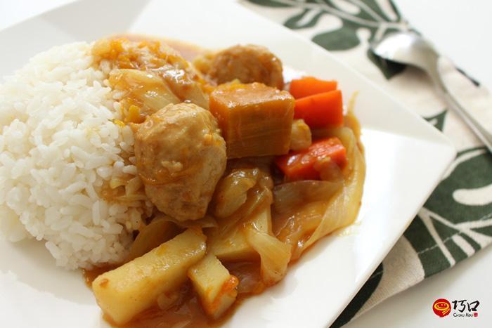 南瓜貢丸咖哩飯(電鍋料理)