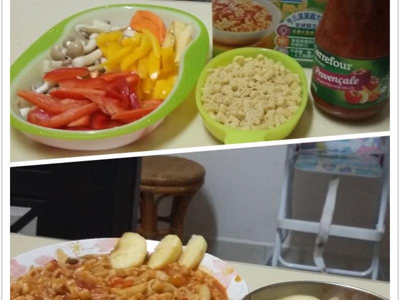 寶寶蕃茄菠菜海鮮動物義大利麵