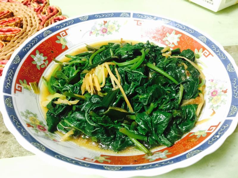 醬汁+地瓜葉