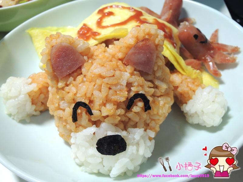 狗狗造型香腸蛋包飯 (我的愛心料理♡)