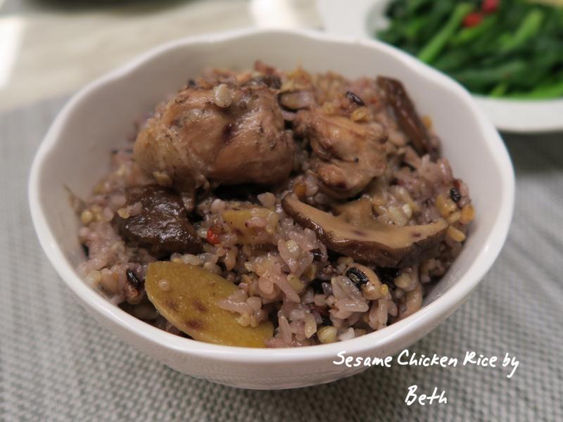用電鍋煮麻油雞飯 - 糯米、十穀米