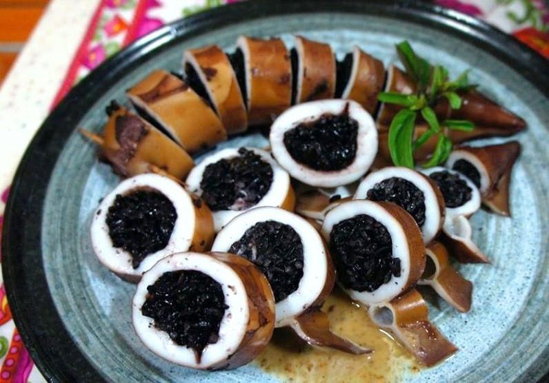 紫米花枝飯