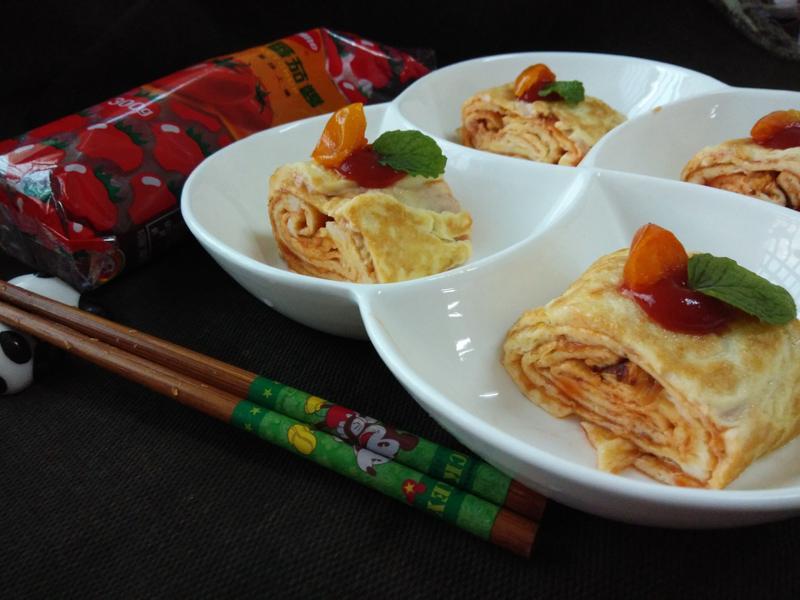 桔香茄蛋捲-蕃茄醬懶人料理